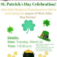 St. Patrick's Day Celebration with Allis Chalmers Toastmasters & Mayor of West Allis