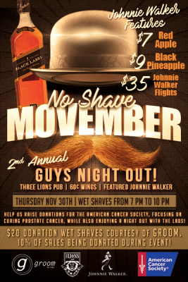 No Shave Movember : Guys Night Out!