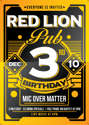 Red Lion Turns 3!
