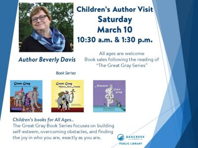 Children's Author Bev Davis to Visit Oak Creek Public Library
