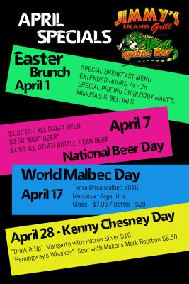 April Specials at Jimmy's Island Grill