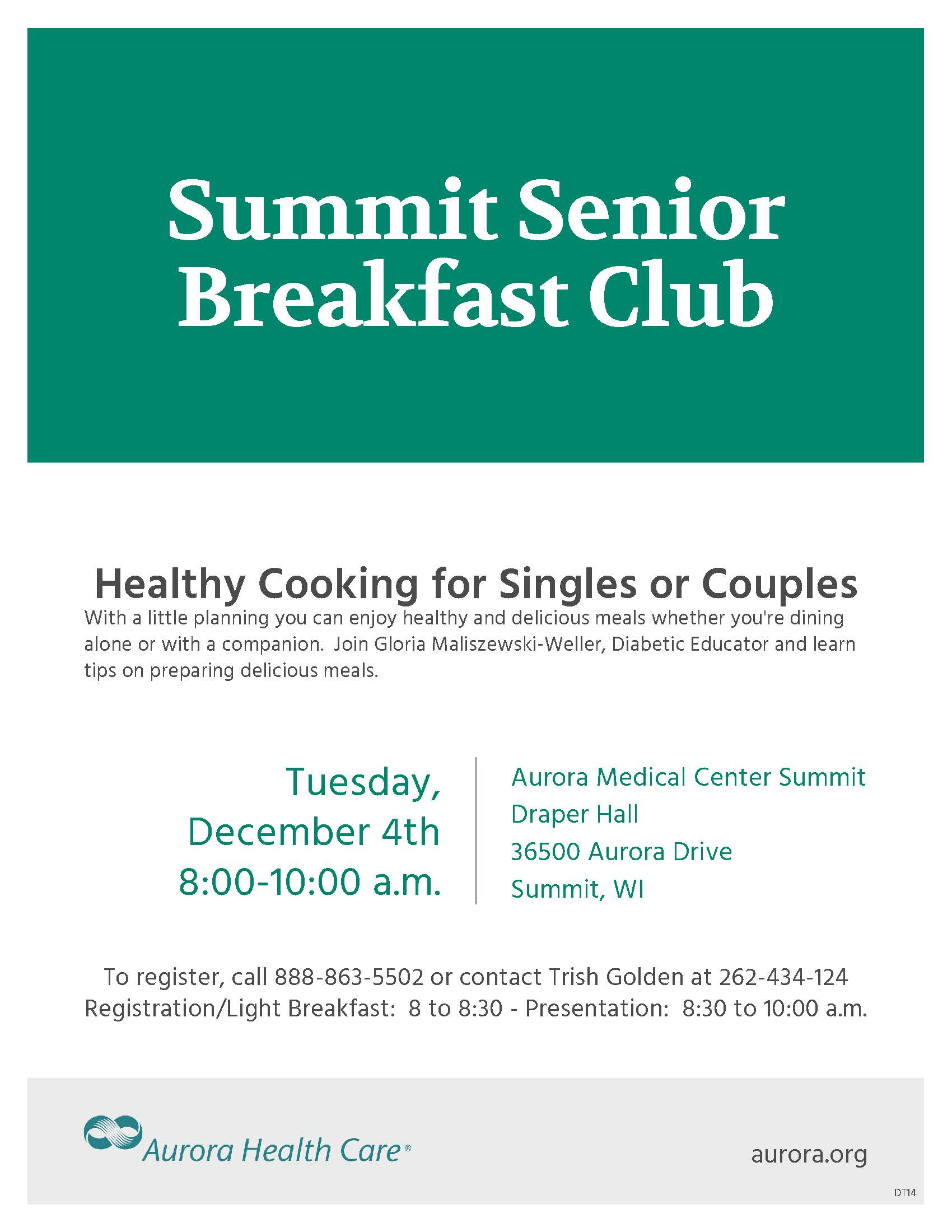 Healthy Cooking For Singles Or S Summit Senior Breakfast Club