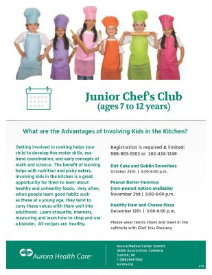 Junior Chef's Club (ages 7 to 12 years only)