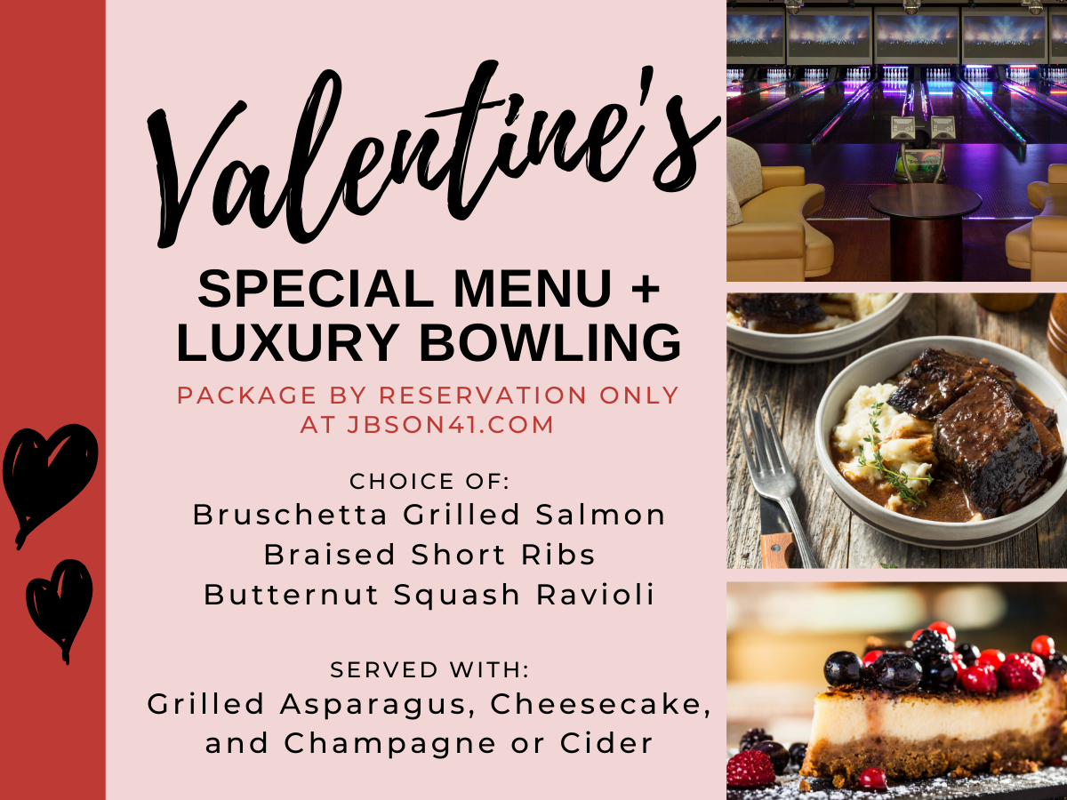 Valentine's Special Menu and Bowling Package