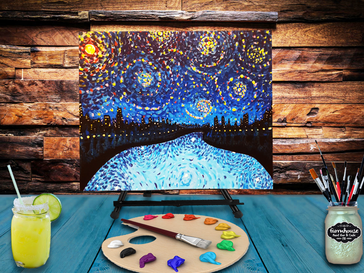 Paint & Sip Milwaukee - Canvas Painting Class - Starry Night