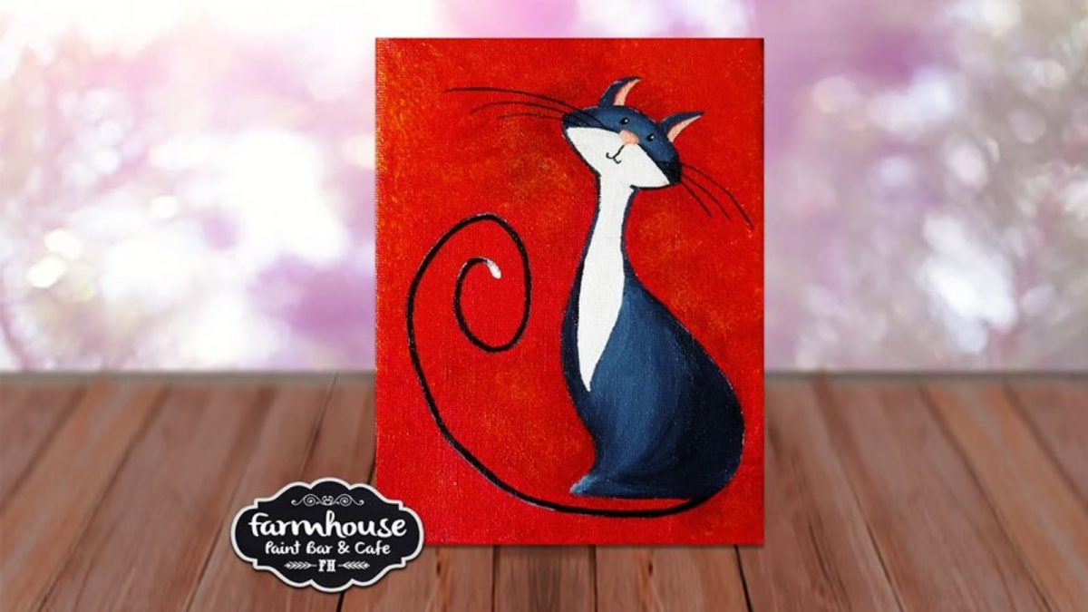 Happy Cat - LIVE Virtual Paint and Sip - Step by Step Class