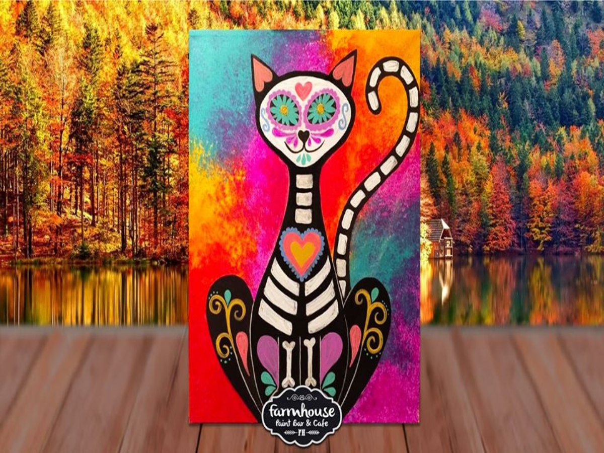 Skeleton Cat - LIVE Virtual Paint and Sip - Step by Step Class