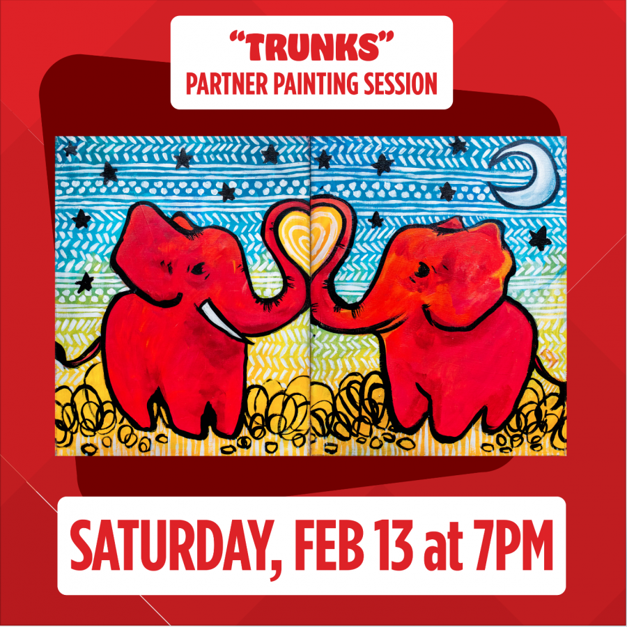 "Virtual Valentine's Live Painting Session: Saturday, Feb. 13, 7pm ""Trunks"""