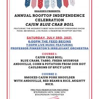 Annual Rooftop Independence Celebration Cajun Blue Crab Boil