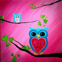 We Paint; Spring Owl Family (Adult and Child Painting)
